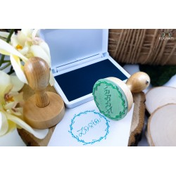 Round wooden stamp - Fresh Mint