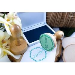Round wooden stamp - Fresh Mint