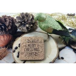 Kwadratowe korkowe podkładki Merry Christmas