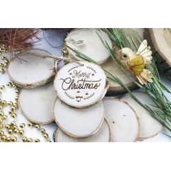 Plaster drewniany. Świąteczny grawer Merry Christmas
