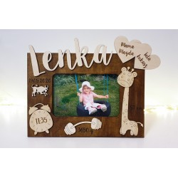 Baby photo frame with personalization