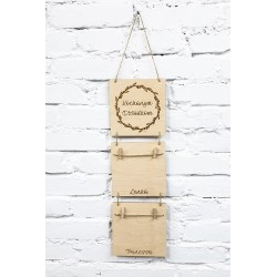 Double photo frame to hang on Grandma's Day and Grandpa's Day with the name of the child