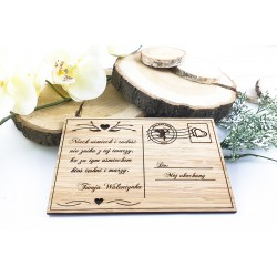 Valentine's Day gift. Bamboo card with engraving