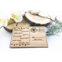 Prezent walentynkowy. Kartka z grawerem z bambusa.