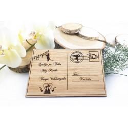 Prezent walentynkowy. Kartka z dedykacją z bambusa