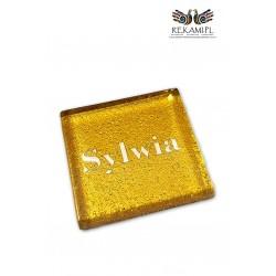 Winietka szklana kwadratowa - Brokatowe złoto