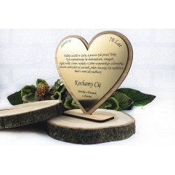 Valentine's Day gift. Engraved heart with dedication. Bamboo.