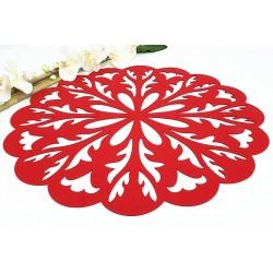 Felt drape - Red rosette