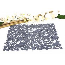Rectangular felt drape - Flowers and butterflies