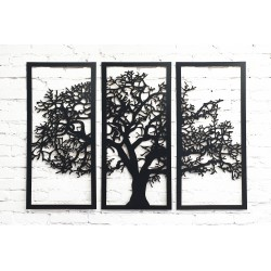 Tree to hang on the wall - Triptych - Black