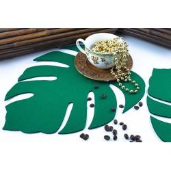 Zielony liść Monstera - Serweta filcowa, podkładka filcowa.