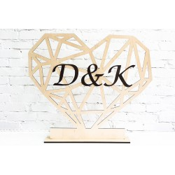 Standing heart with initials