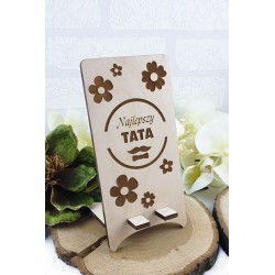 Wooden phone stand with an engraving. A gift for Dad.