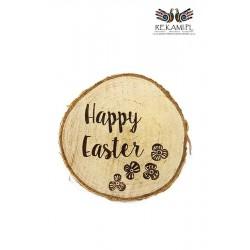 Ozdoby na Wielkanoc - Krążek brzozowy z napisem