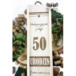 50 Urodziny - Drewniana skrzynka na wino z grawerem