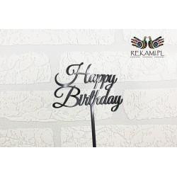 Topper Happy Birthday z czarnej pleksy