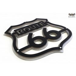 Wall 66 Route 66 Emblem - Black and Silver