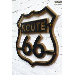 Route 66 - Szyld na ścianę do pokoju motocylisty.