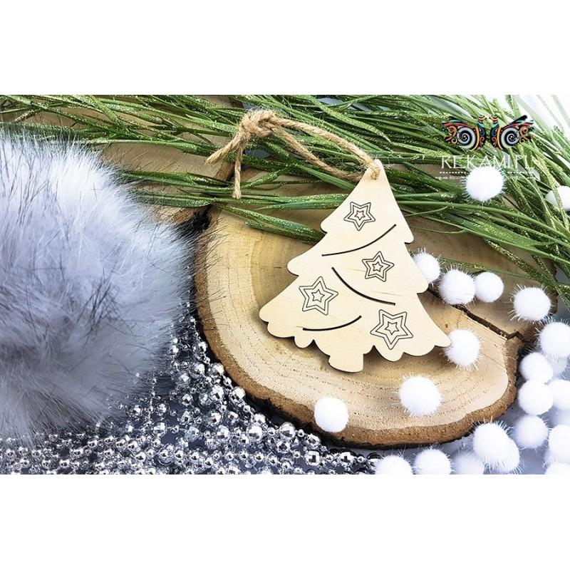 Zawieszka na Boże Narodzenie ze sklejki - Choinka z gwiazdkami