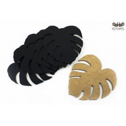 Mug pads made of black HDF - Monstery Leaf