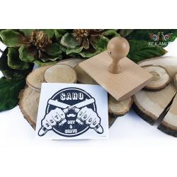 Stempel drewniany kołyska - Duże odbicie