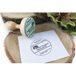 Traditional, round wooden stamp - Cheese congress
