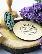 Traditional Wooden Stamps. Round, rectangular and square.
